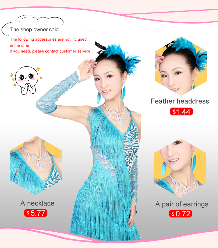 Adult Women And Children Sexy Sequins Tassel Competition Dress Latin Dance Skirt Costume