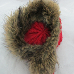 7f5d92539 mohawk knit hat with wool band earflap hand made knit hat with top ball
