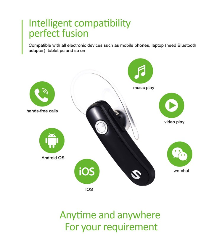HD sound invisible liquid repellent wireless business Bluetooth headphone & Earphone for mobile phone