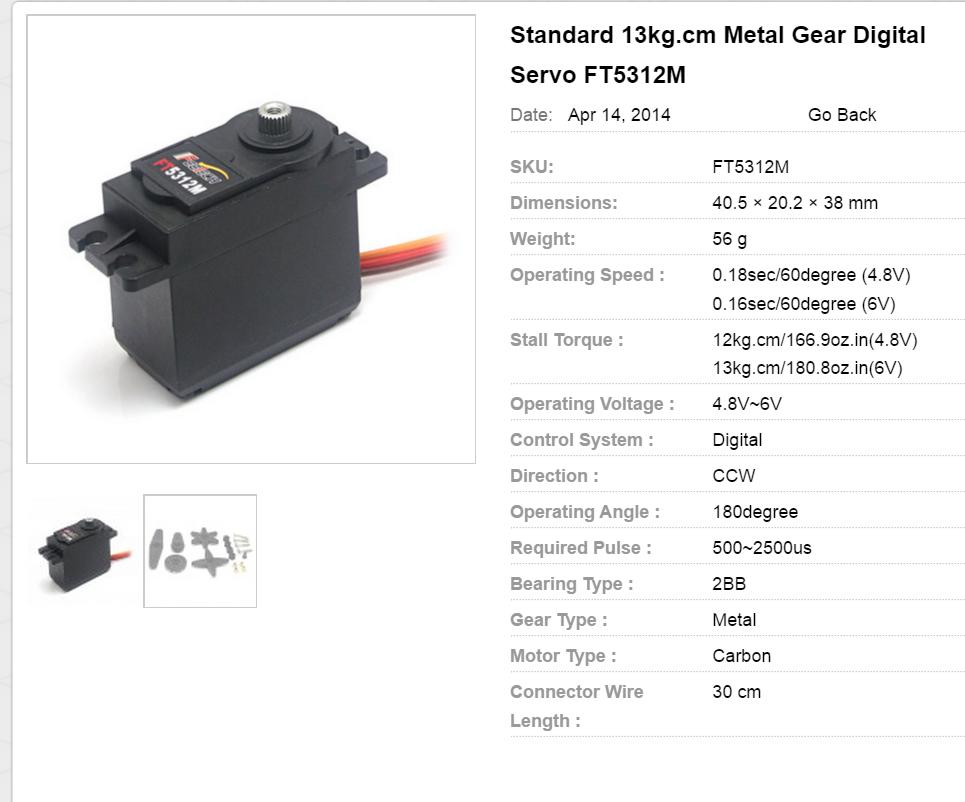 Standard 13kg.cm Metal Gear Digital Servo FT5312M
