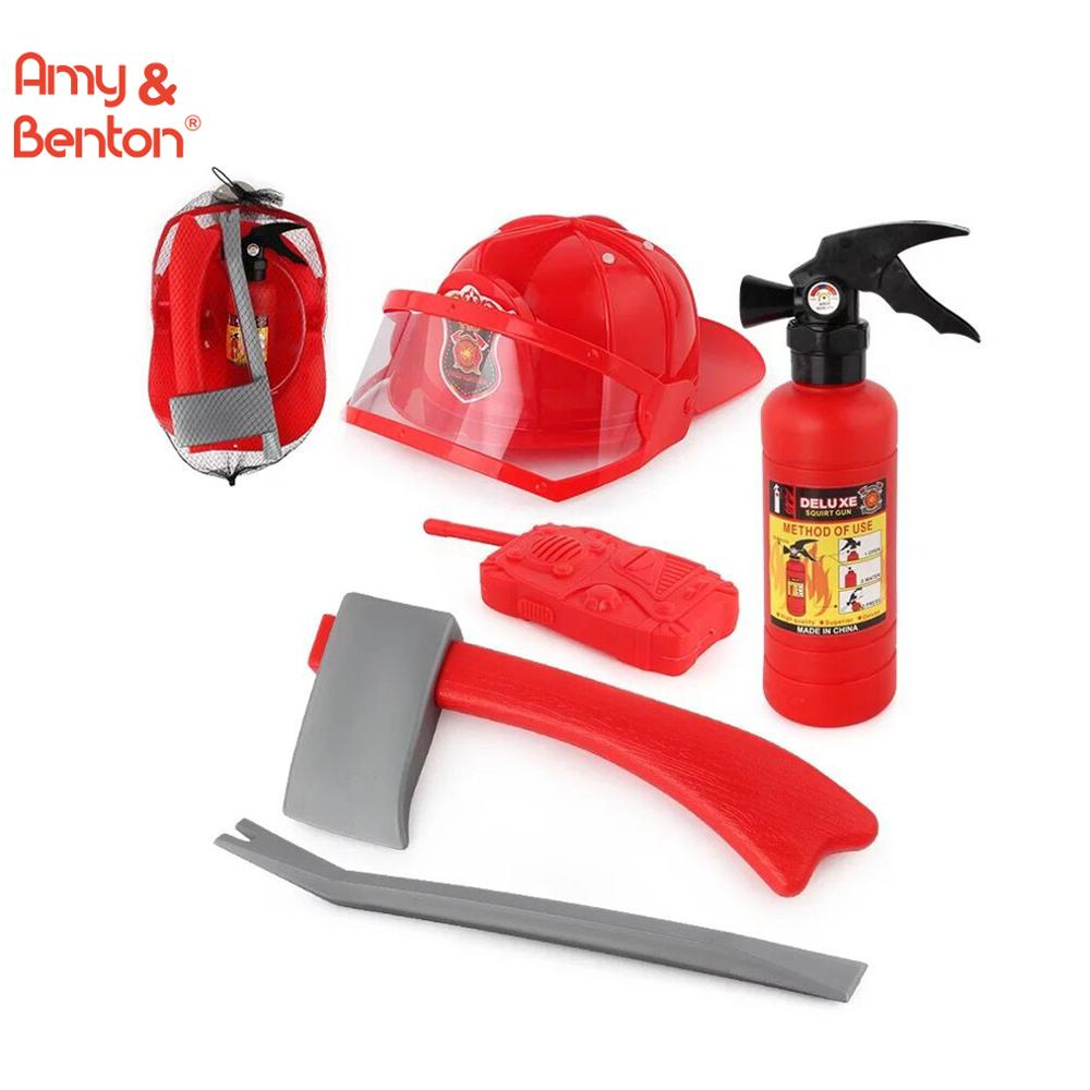Fire Hose Squirt Gun and Backpack Kids Fireman Toy Firefighter Costume