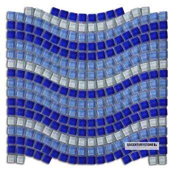 Welle Blau Art Schwimmbad Fliese Blau Bad Glas Fliesen Mosaik Buy - Glasmosaik fliesen blau
