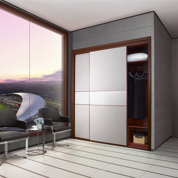 2014 New Design Open Cheap Corner Bedroom Wooden Wardrobe