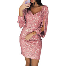 2019 Femme grande Taille jupe mode V-cou sexy gland robe mince