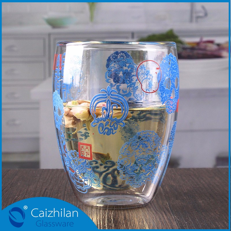 Personalized double wall tumbler water double wall glass drinkware glass