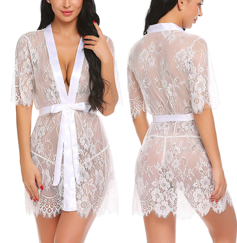 8153b8d5e0 Get Quotations · wearella Women's Lace Kimono Robes Mesh Babydoll Lingerie  Sleepwear Short