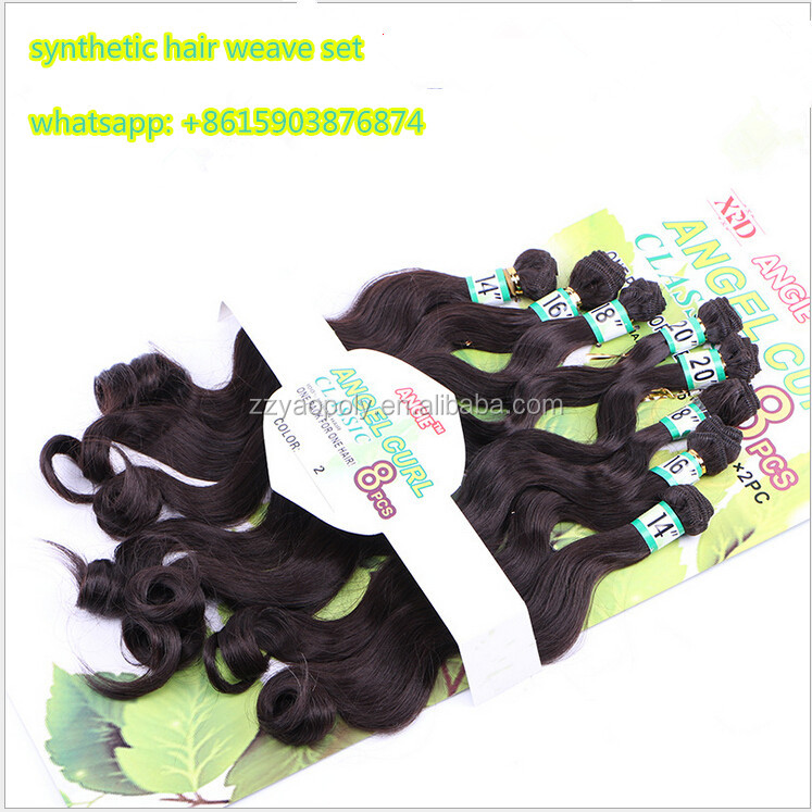 china suppliers cheap synthetic hair weave set body wave 8 bundles / set crochet twist hair weft