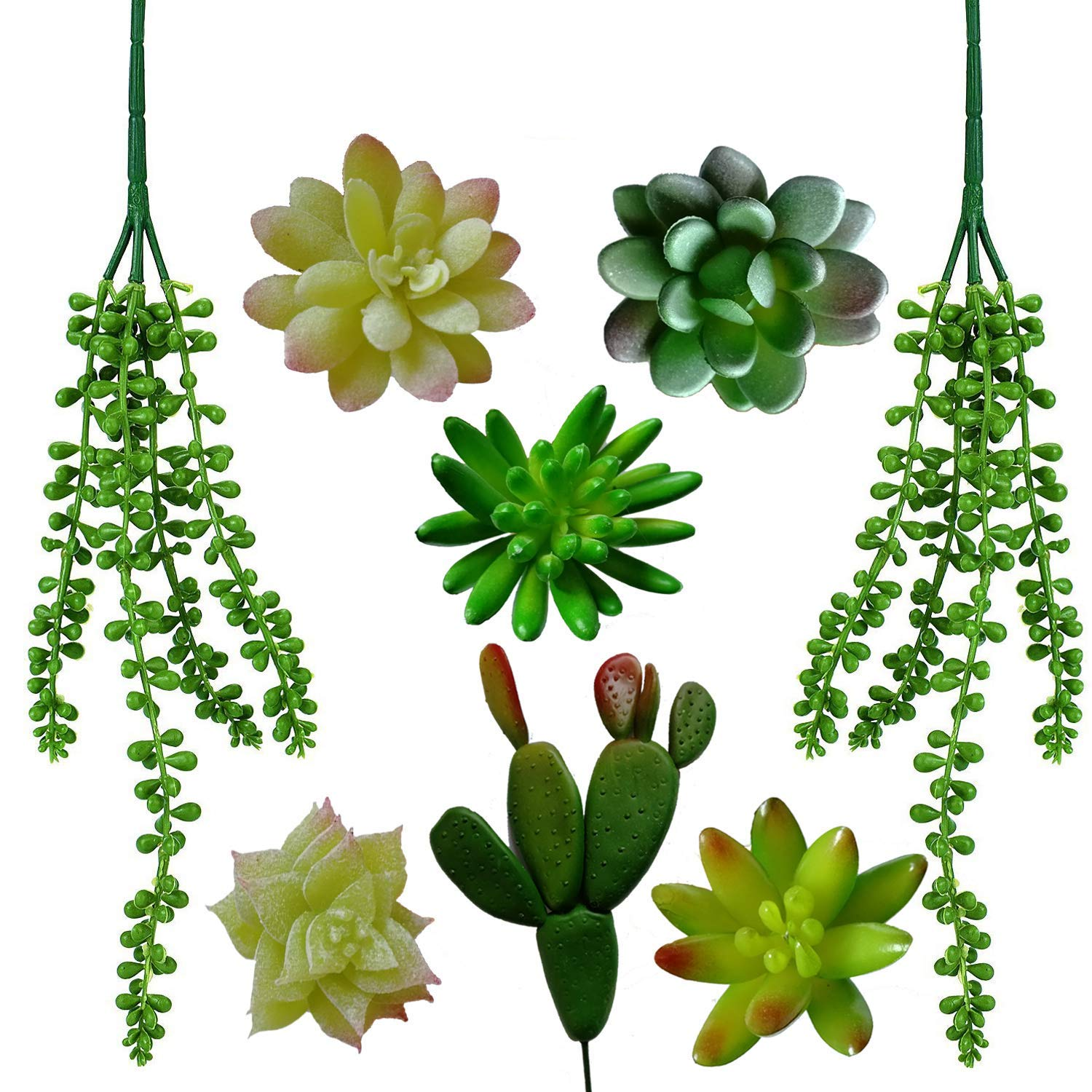Maycoo 8 Pcs Unpotted Artificial Succulents, Assorted Fake Succulent Plants GreenFaux Succulent Plant for Home Decor