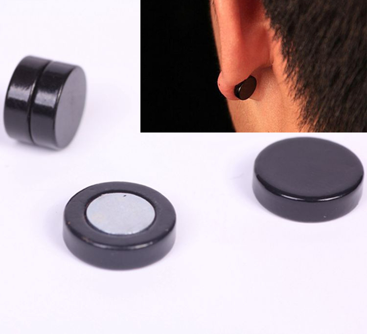 Get Quotations 1 Piar 6 8 10 12mm Men S Magnetic Earrings Anium Steel Black Trendy