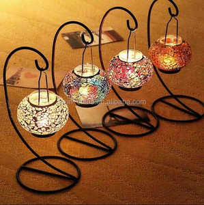 Metal Pillar Mosaic Bowl Candle Holder,Hanging Circle Ball Candlestick,color candle holder