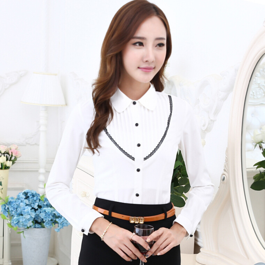 eeb3550fdb5e Get Quotations · 2015 autumn female ol work wear stripe shirt long-sleeve  formal white blouse slim women s