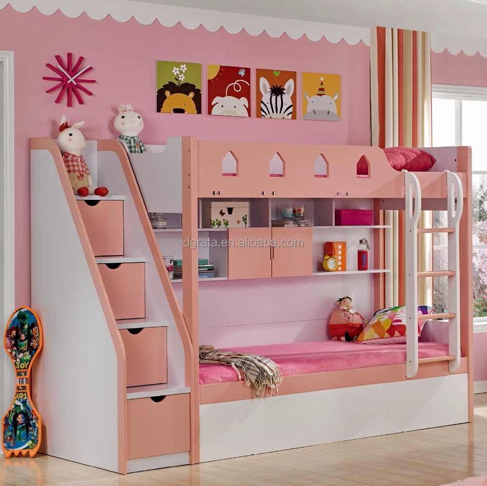 Modern Multicolor series wooden Pneumatic bunk bed children bedroom set for bedroom furniture