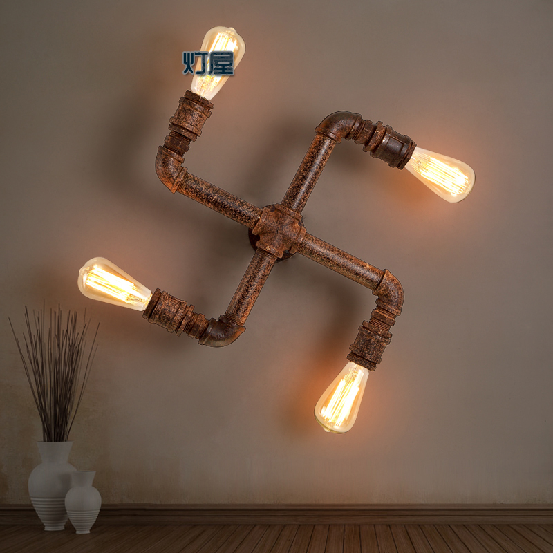american loft vintage water pipe iron wall lamp e27 edsion. Black Bedroom Furniture Sets. Home Design Ideas