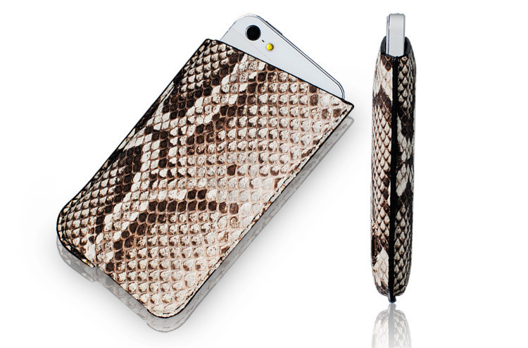Python Skin Genuine Leather Cell Mobile Phone Sleeve Case For Men