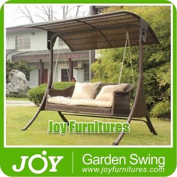 Outdoor Wicker Swing Chair Rattan 3 Seater Swing Chair Garden Swing