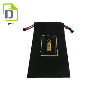 Customized black wrapping jewelry nylon bag with pattern printed