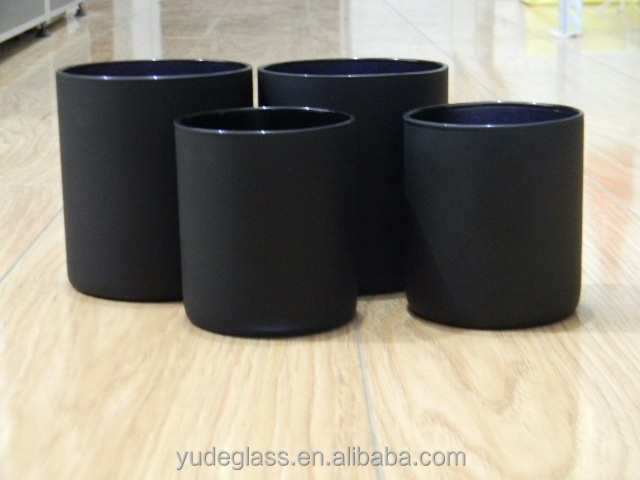 High quality black candle jars wholesale, glass candle jars with wooden lids