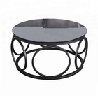 Classical Simple Cheap Glass Tea Table Design Metal Small Edge Office Sofa Round Coffee Table