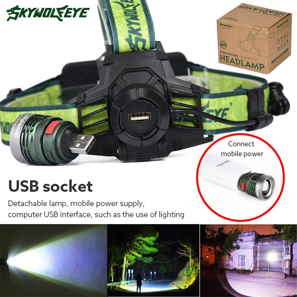 Rechargeable LED Headlamp Brightest 1 x XM-L T6 Focus 5000 LMS LED Headlight Waterproof Flashlight with Adjustable Headband Best for Camping Running Hiking Walking Biking Hunting, Not Include Battery