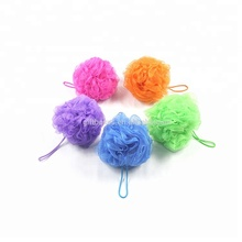 Wholesale soft mesh poufs exfoliating bath ball colorful shower puff flower bath sponges