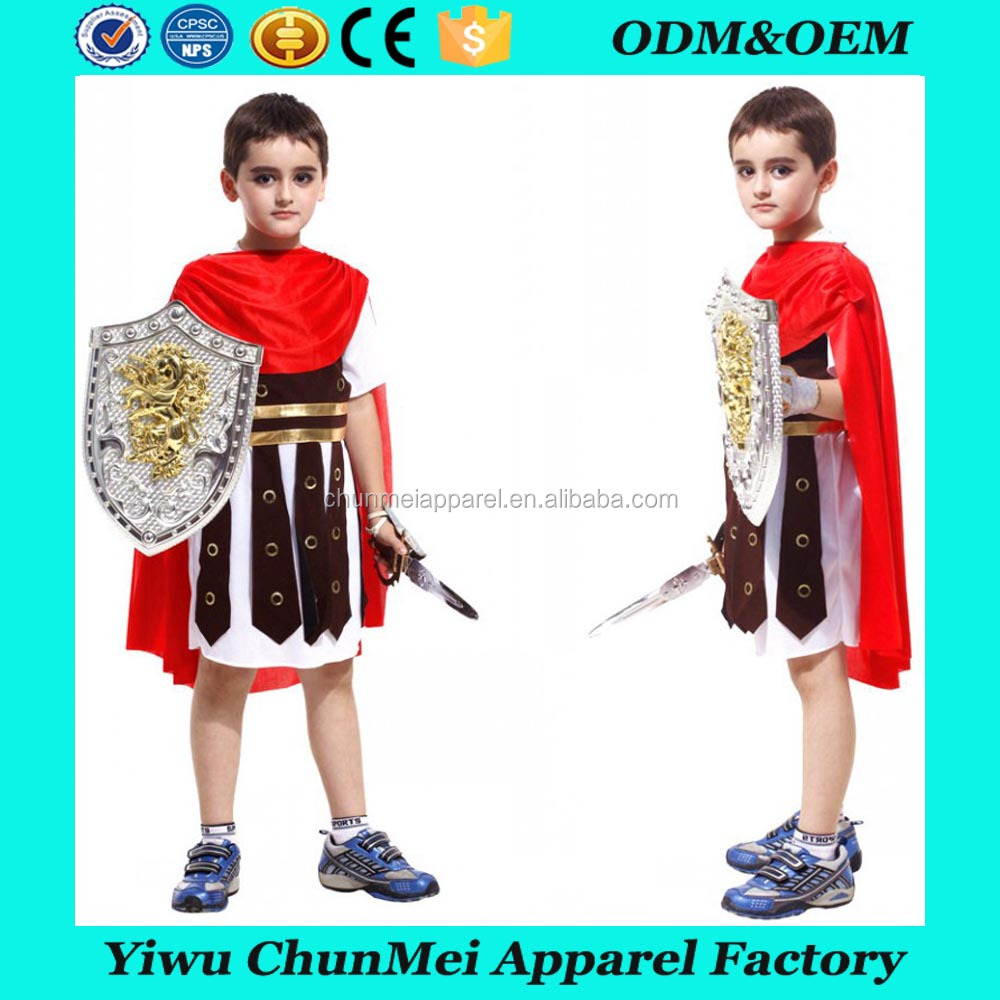 Halloween carnival party roman soldier child gladiator costume for boys