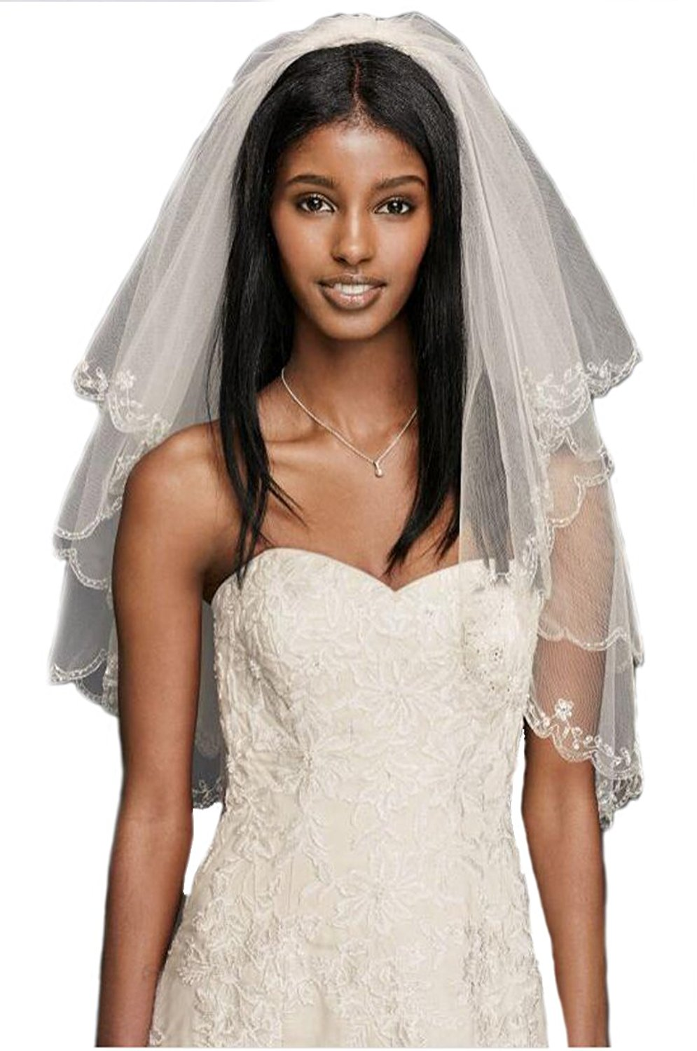 Liveinu Womens Elbow Beaded Edge Pearl Sequins Wedding Bridal Veil