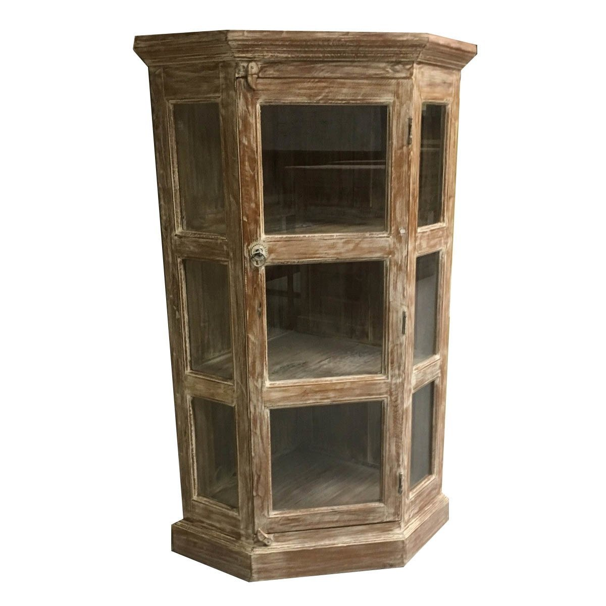 Exceptionnel Get Quotations · Mohr And McPherson 55 Inch High Teak Wood And Glass Corner  Curio Cabinet With White Wash