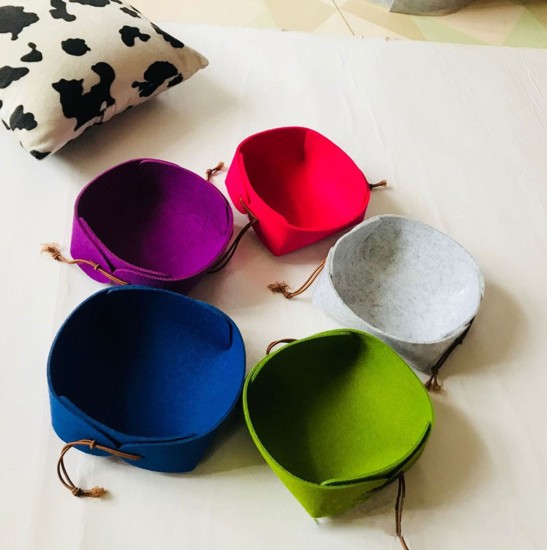 Wholesale Solid Color Felt Storage Small Basket Jewelry Key Box Snacks Felt Storage Basket