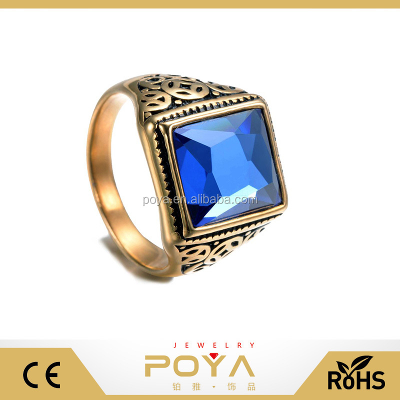 POYA Jewelry Mens 18K Gold Plated Vintage Square Blue Crystal Gemstone Ring
