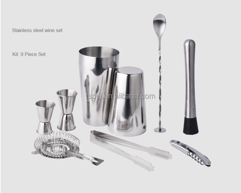 9pcs stainless steel Boston wine mixing set bartender cocktail shaker spoon home TV holiday barware bar tool jigger set
