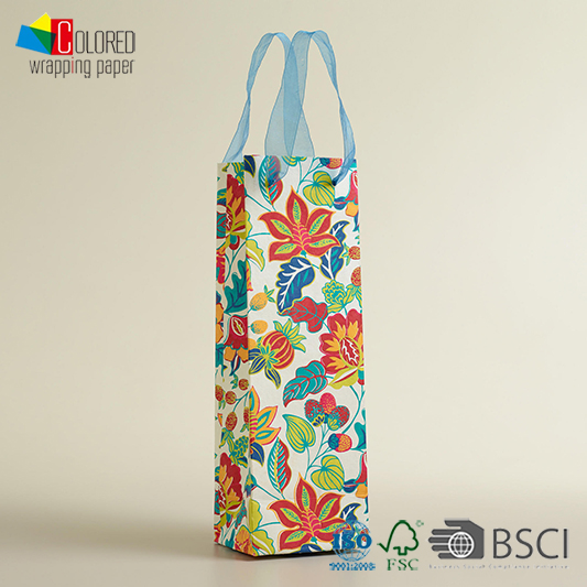 Flower Design Shopping Bag Paper Bag for Wine Packing Custom LOGO and Sizes Wine Paper Bag OEM Luxury
