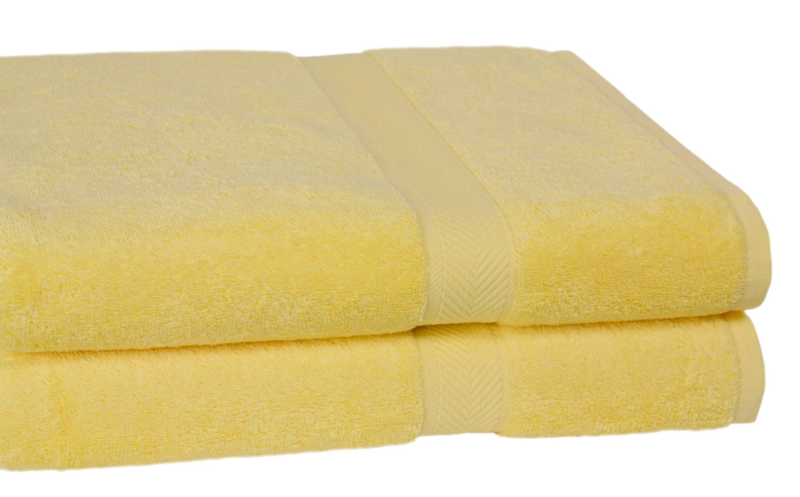 Calcot All American Cotton Line 100-Percent Supima 2-Piece Oversized Bath Sheet/Towel Set, Sunflower