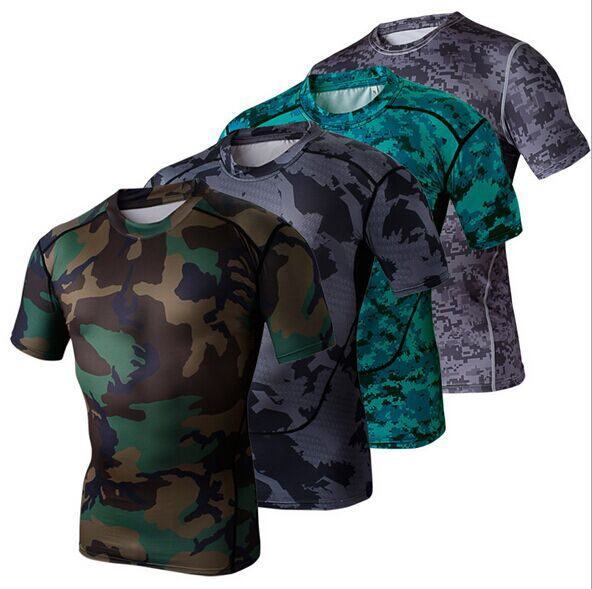 2015 fashion summer mens short sleeve compression camo t shirt outdoor sports running quick dry shirt military fans cool tights
