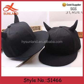 156bcfa08b03c S1466 Hot sale unisex black adjustable devil horns baseball snapback hip  hop caps hats for sale