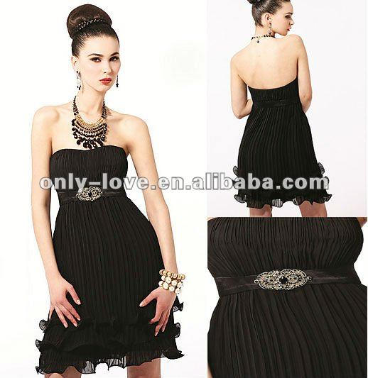 unique short straplesss ruffled black belt cocktail dress OLC073