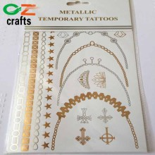 New Fashionable metallic gold flash temporary tattoo sticker