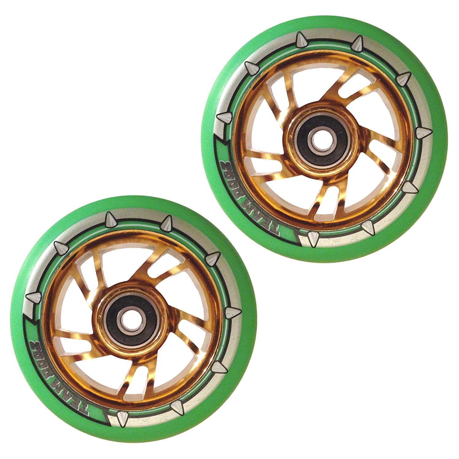 Team Dogz 100mm Swirl Scooter Wheels - Gold Cores Green Tyres (Pair)