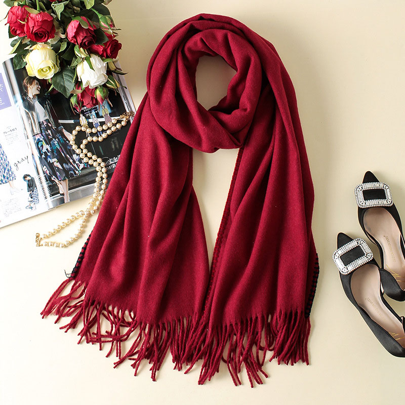 Women Long Red Wool Scarf Fashion Wool Neck Scarf