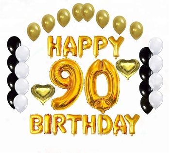 EasternHope Golden Happy 90th Birthday Party Decorations 90 Number Balloons Letter Foil And Heart Shape