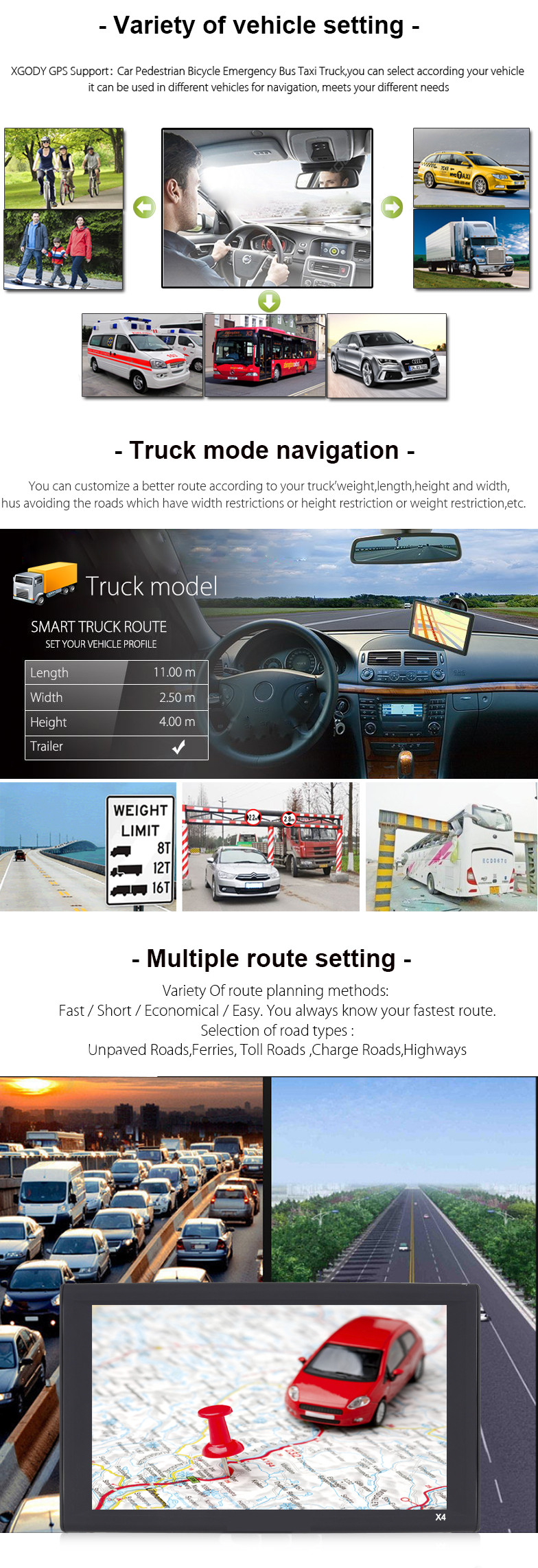 "9"" 8GB Truck Car GPS Navigation Free EU UK Maps GPS& Sat Nav Devices Navigator"