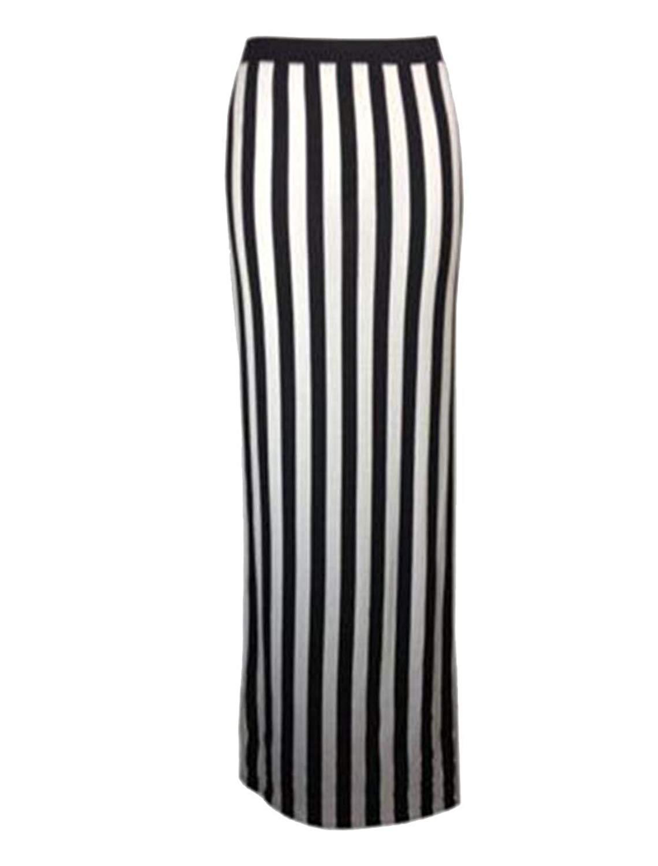 ebda3b9919 Get Quotations · Janisramone Vertical Stripe Maxi Skirt Pencil Stretch