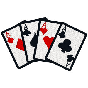 Poker Card Embroidered Iron On Patches Size 4 X 4 inches