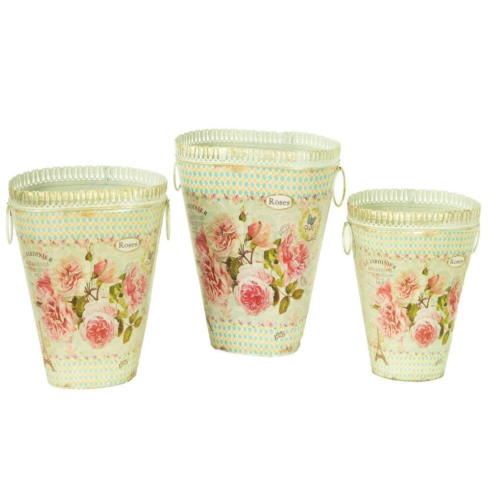 Bedding Dropship French country planters vintage metal decorative vases & flower pots (set of 3)