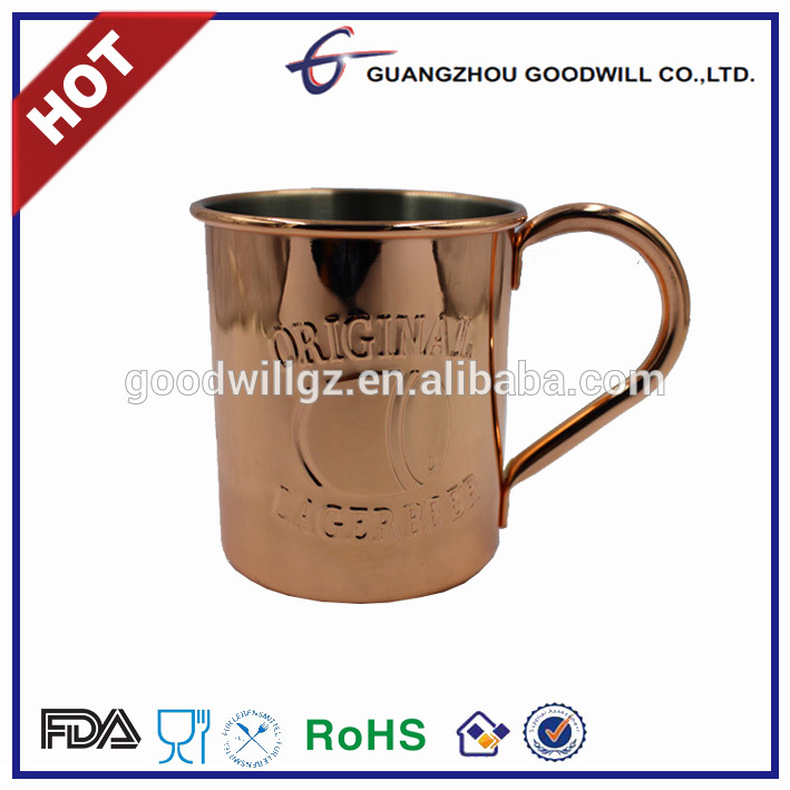 Factory made 100% good quality stainless steel copper plated mug/tumbler with lid