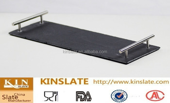 Rectangle Natural Black Slate Serving Tray With Handle
