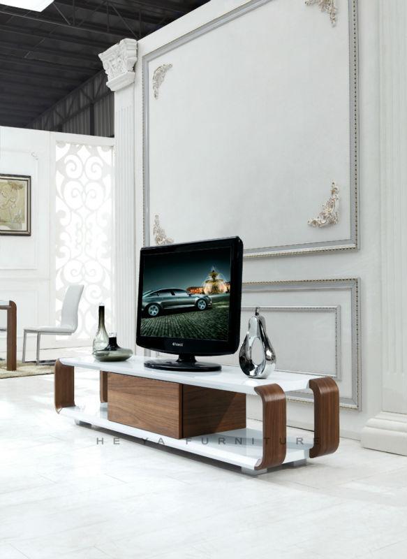 Modern beige gloss TV Wall Unit, wooden lcd tv stand design