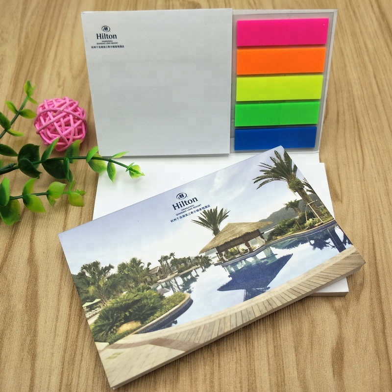 2018 hot nieuwe briefpapier set custom memo pad sticky note pagina marker plastic sticky note