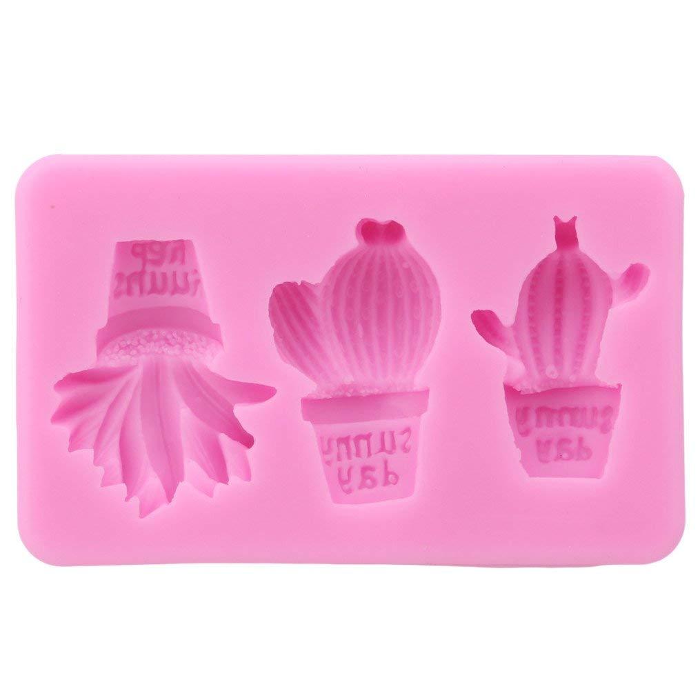 Edtoy Pink Cactus Fondant Silicone Mold Chocolate Clay DIY Cake Molds