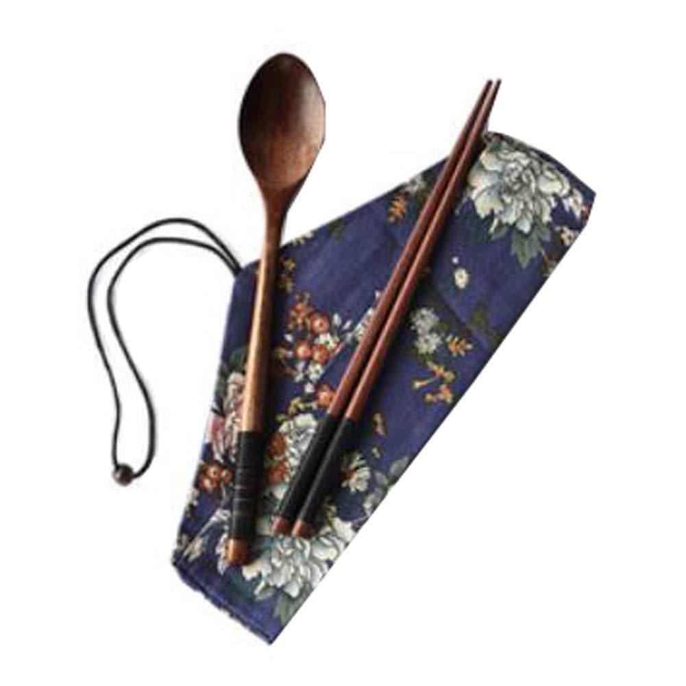 Hornet Park Japanese-Style Retro Wooden Flatware-Sets Three-piece Chopsticks/Spoon/Cloth Bag [L]