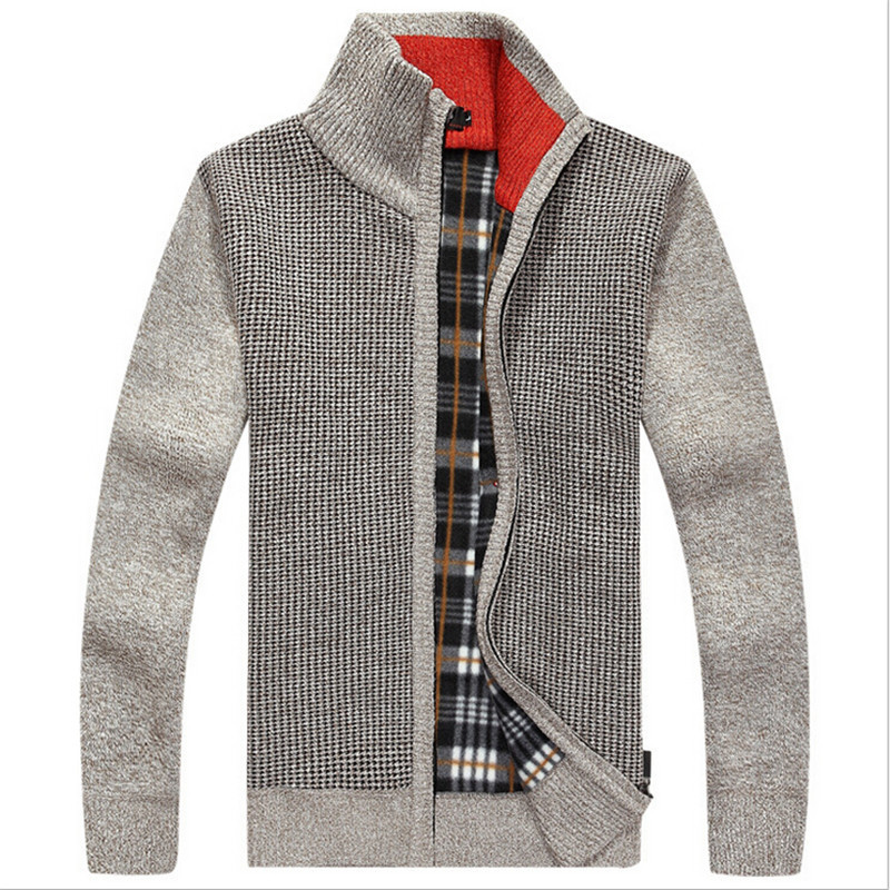 Wholesale New Warm Thick Velvet Cashmere Sweaters Men Winter Cardigan Zipper Tops Stand Collar Man Casual Sweaters Pullover Men